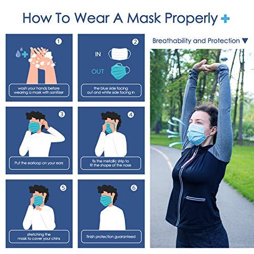 Einwegmaske 3 lagige Gesichtsmaske IDOIT,Atemschutzmaske Mundschutz Maske 50 Stück,Elastische Ohrschlaufen Filter Gesichtsschutz für zu Hause/im Büro/in der Schule/im Freien - 4