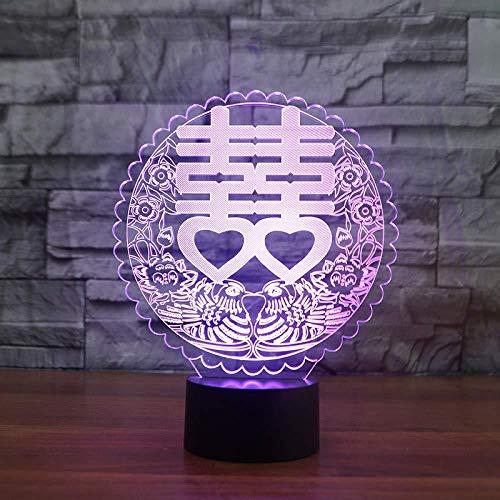 Lámpara De Mesa Led De Doble Felicidad Visual 3D 7 Colores Usb Luz De Noche Dormitorio Iluminación De Sueño Boda China Decoración Para El Hogar Regalo