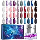 Skymore Esmalte de Uñas en Gel, Uñas de Gel UV/LED de 20 Colores, Set de Esmaltes de Uñas Semipermanentes,Diseño de Uñas de Esmalte de Uñas de Color UV Crea la Modelado de Uñas Perfecta