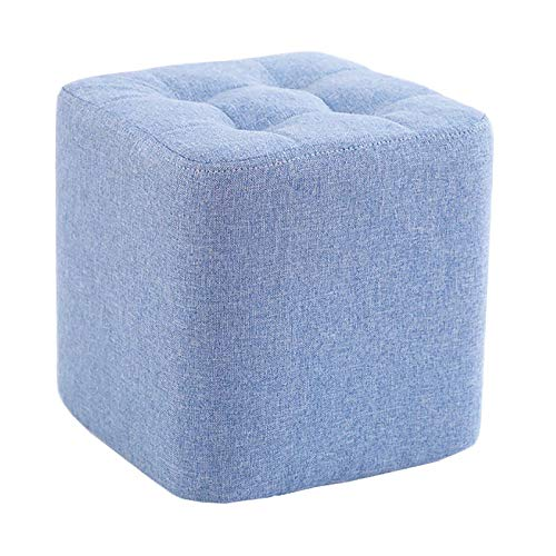 Small Ottoman Cover Ottoman Slipcovers Rectangle for Living Room Foot Stool Stretch Covers to Fit Ottoman Foot Rest, Thick Checked Jacquard Fabric with Elastic Bottom,Blue