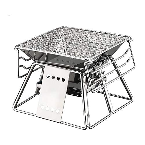 JMFHCD Tragbar Holzkohlegrill Edelstahl Faltbar BBQ Smoker 3 Höhenverstellbar Holzkohle Grill Geeignet für Familienküche im Freien Camping