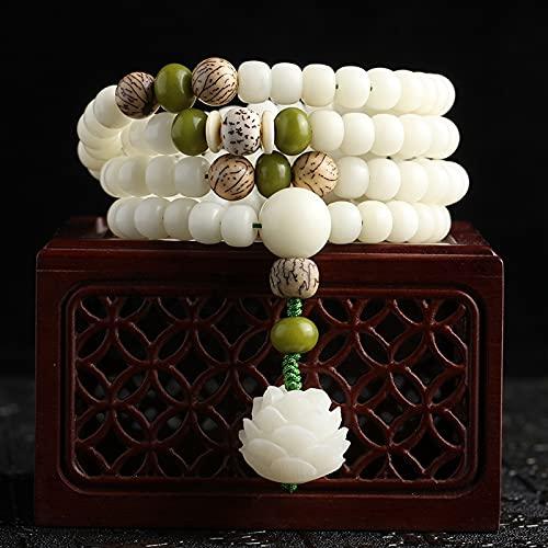 YANGYUE Jade Blanco Bodhi Mano Cuerda Mujer Pulsera Bodhi raíz Flor Tallada Lotus 108 Cuentas de Rosario Cuentas de Buda Cuentas de Juego