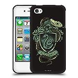 Head Case Designs Oficial Harry Potter Slytherin Reliquias de la Muerte XIV Funda de Gel Negro Compatible con Apple iPhone 4 / iPhone 4S