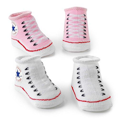 Converse 2 Stück Baby Booties 0-6 Monate rosa/Weiss
