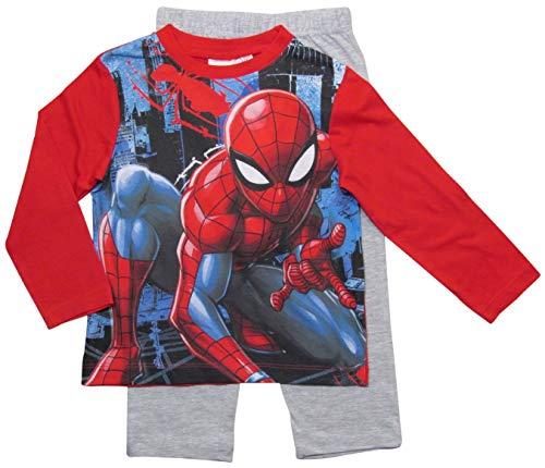 Spiderman Marvel Schlafanzug Jungen Lang (Rot, 122-128)
