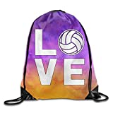 uykjuykj Bolsos De Gimnasio,Mochilas,I Love Volleyball For Volleyball Fans Sports Drawstring Backpack Bags Lightweight Unique 17x14 IN