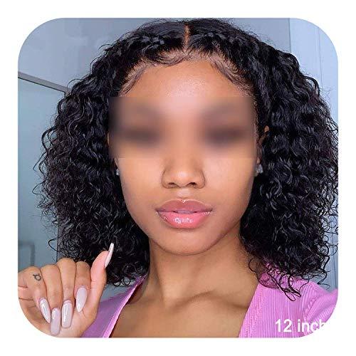 PJPPJH Perruques pour Femmes Cheveux Humains, Courte Perruque Bob bouclés Avant de Lacet Cheveux Humains 13x4 Bob Avant de Lacet Court Bob bouclés Per