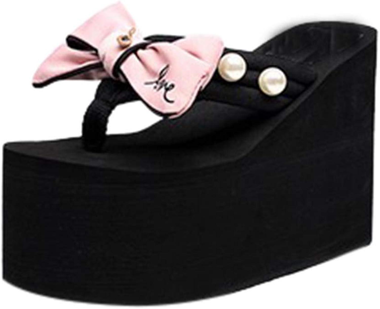 Woman's Bowknot Faux Pearl Ladies Wedges Platform High Heel Flip Flops Beach Casual Summer Sandals