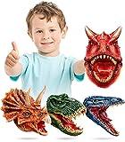 Geyiie Dinosaur Hand Puppet, Latex Dino Puppets Dinosaur Head Gloves, Dinosaur Toys Game Gifts for Boys,Toddler, Kids,T rex Triceratops Mosasaur Carnotaurus, 4 Pack