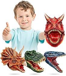 5. Geyiie Latex Tyrannosaurus, Triceratops, Mosasaur, and Carnotaurus Dinosaur Hand Puppets (Set of 4)