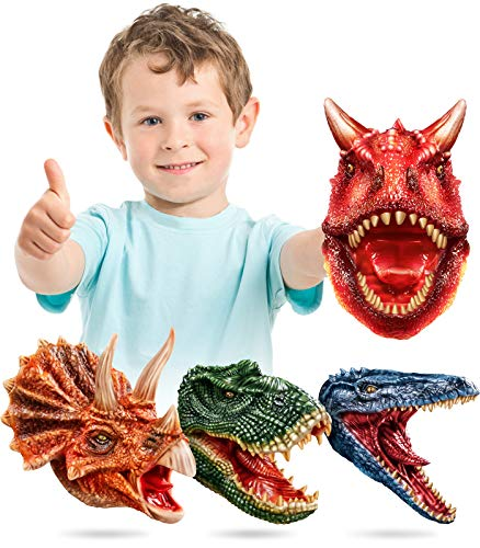 Geyiie Dinosaur Hand Puppet , Latex  Dino Puppets Dinosaur Head Gloves, Dinosaur Toys Game Gifts for Boys,Toddler, Kids,T rex ,Triceratops, Mosasaur, Carnotaurus, Valentine Gifts, 4 Pack