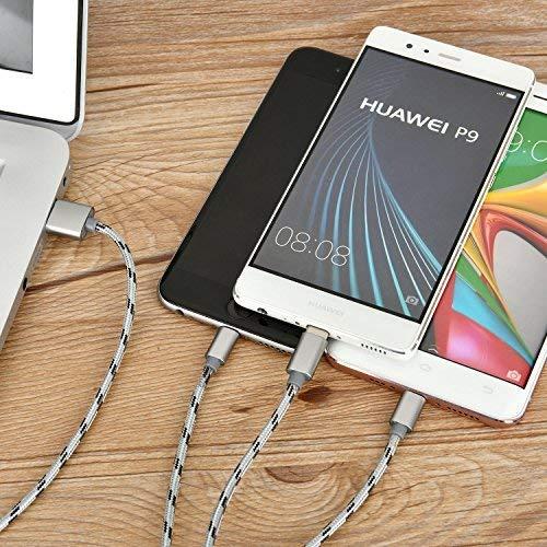 Bolatus 2Pack 35cm Multi USB Kabel, 3 in 1 Universal Handy Ladekabel Nylon Mehrfach Adapter mit Micro USB Typ C Ladegerät Kabel Kurz Kompatibel für Smartphone Tablets und mehr - Silber