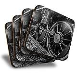 Destination Vinyl ltd Great Posavasos (juego de 4) cuadrados – BW – Locomotora rueda tren bebida brillante posavasos/protección de mesa para cualquier tipo de mesa #38127