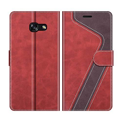 MOBESV Handyhülle für Samsung Galaxy A3 2017 Hülle Leder, Samsung Galaxy A3 2017 Klapphülle Handytasche Hülle für Samsung Galaxy A3 2017 Handy Hüllen, Modisch Rot