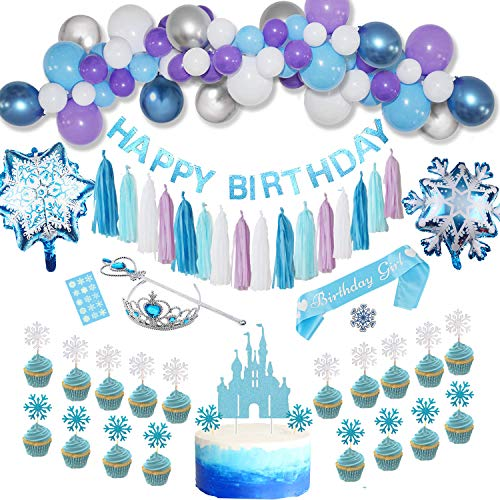Taryana Frozen Birthday Party Supplies - Princess Elsa Snowflake Girls Birthday Party Decorations | Birthday Banner, Balloons Garland Decor, Foil Balloons, Paper Tassel, Cupcake Cake Topper, Sash, Pin, Tattoos, Crown Wand, Frozen Party Supplies | Birthday Decorations for Girls 2nd 3rd 4th 5th 6th Birthday