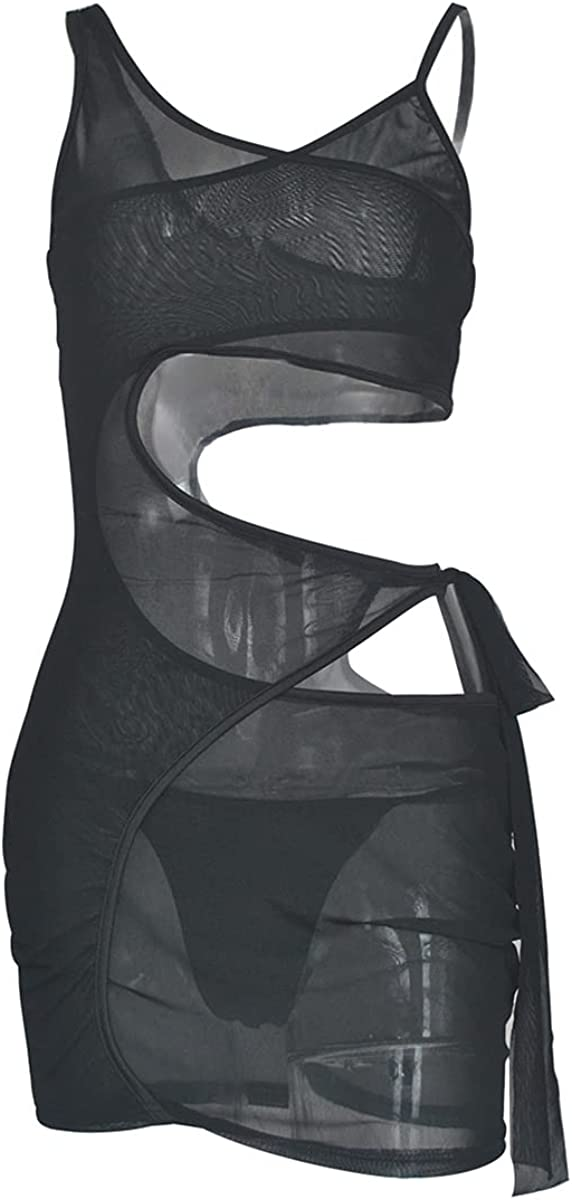 Women's Sexy Mesh See Through Bodycon Mini Dress Sleeveless Beach Swimsuit Cover Up Club Night Out Dresses with Brief