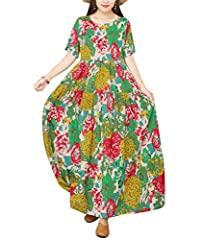 Tiered Maxi Dress;Crew Neck; Short Sleeve; Large Swing Skirt; Floral Printed; Soft Skin Fabric; Side Pockets; Occasion: Daily Wear; Summer Beach; Holiday; Home Wear PleaserefertotheSizeChartintheProductDescriptionbeloworthe5thImagebefo...