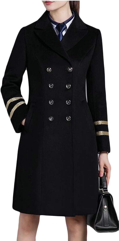 Desolateness Women's Double Breasted Pea Coat Woolen Blend Winter Jacket