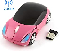 Wireless Car Mouse, 2.4G Wireless Race Car Shaped Mouse Cool Optical Mouse Novelty Cordless Mice, 1600 DPI for PC Desktop Mac Laptop (Pink)