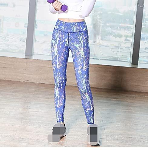 Leggings Cintura Alta Para Mujer,Pantalones De Yoga Para Mujer, Mallas De Entrenamiento, Estampado Floral Abstracto, Azul, Cintura Alta, Opacas, Mallas De Yoga, Mallas De Entrenamiento, Regalo De Mu