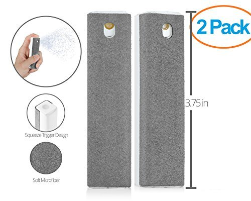 Ecran All in One Microfiber Screen Cleaning Tool for LED & LCD TV, Computer Monitor, Laptop, and iPad Screens - 100 Uses - Portable & Compact - Gray - 2 Pack