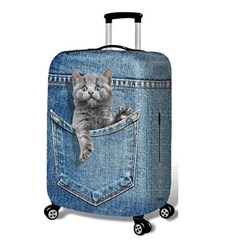 3D Koffer Schutzhülle, Trolley Staubschutzhülle Nachgemachter Cowboy Drucken Tier Stretchstoffe Verdicken Verschleißfest Gepäckabdeckung C-L(25-28 Inch)