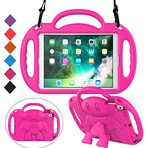 BMOUO Kids Case for New iPad 9.7 inch 2017/2018 - Shoulder Strap Shockproof Protective Handle Kickstand Case Cover for Apple iPad 9.7 inch 2018 (6th Gen) / 2017 (5th Gen) - Rose