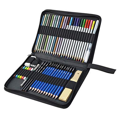 Matite Disegno Matite Colorate, KidsPark 52 Pezzi Set da Disegno Matite Schizzo Colori Matite Grafite Carboncino Penne Gomme Temperamatite Strumento Artistico con Astuccio per Bambini Adulti