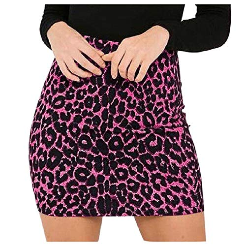 Nobrand Damen Leoparden-Mini-Rock, bedruckt, hohe Taille, sexy, Bleistift, Hüfte, Skinny, Freizeit,...