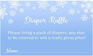 Winter Wonderland Diaper Raffle Ticket Baby Shower Blue Snowflakes Diaper Wipes Raffle Ticket Insert Request Prize It's a Boy Its Cold Outside Snowy Snow Snowing Little Snowflake (25 Count)