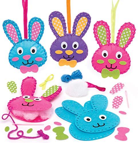 """Baker Ross Nähsets """"Hasen"""" (3 Stück) – Bastelidee zu Ostern für Kinder zum Gestalten und Dekorieren"""