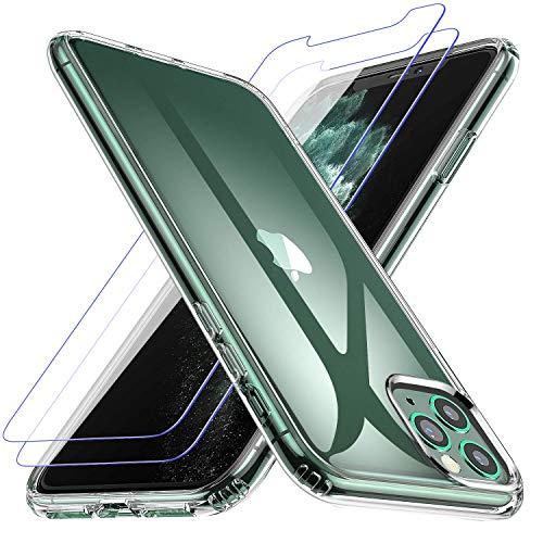 Losvick Cover per iPhone 11 PRO Max con 2 x Pellicola Vetro Temperato, Custodia Silicone TPU Morbido Protezione Paraurti Antiurto Anti-Graffio Cover per iPhone 11 PRO Max -6.5 Pollici- Trasparente