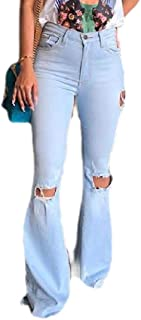 Women Classic Skinny Ripped Distressed High Waisted Bell Bottom Denim Pants