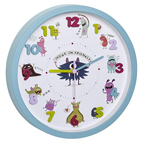 TFA Dostmann LITTLE MONSTERS Kinder-Wanduhr mit Monster-Motiven, leises Uhrwerk, ideal für das Kinderzimmer, Kunststoff, Glas, türkis, ((L) 309 x (B) 44 x (H) 309 mm