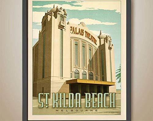 Azsteel Palais Theatre St Kilda Print Melbourne Theatre Print, Art Decó, cartel de Melbourne | cartel sin marco para decoración de oficina, el mejor regalo para familia y tus amigos 35 x 45 cm