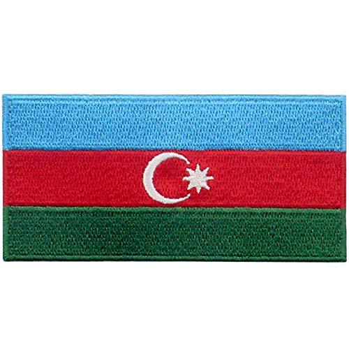 EmbTao Aserbaidschanische Flagge Bestickter Aufnäher zum Aufbügeln/Annähen