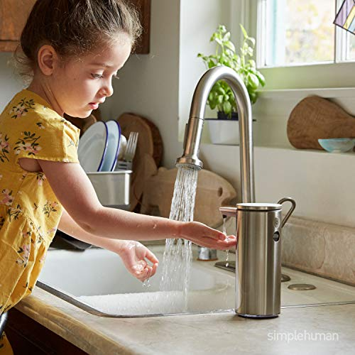 simplehuman 9 oz. Touch-Free Rechargeable Sensor Liquid Soap Pump Dispenser, Brushed Stainless Steel