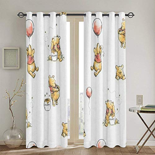 Meroy Fowler Winnie The Pooh Blackout Curtain Set-for Home Decor Living Dining Bedroom Top Insulation Compartment Bedroom Living Room Children's Room 3D Printing-52in W x 72in L(1Pair)