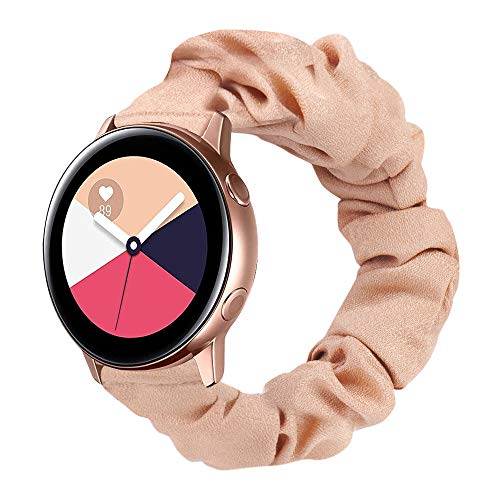 Ownaco - Pulsera para Samsung Galaxy Watch Active 4, color oro rosado, tela suave, patrón impreso, correa de repuesto para mujer, linda banda elástica