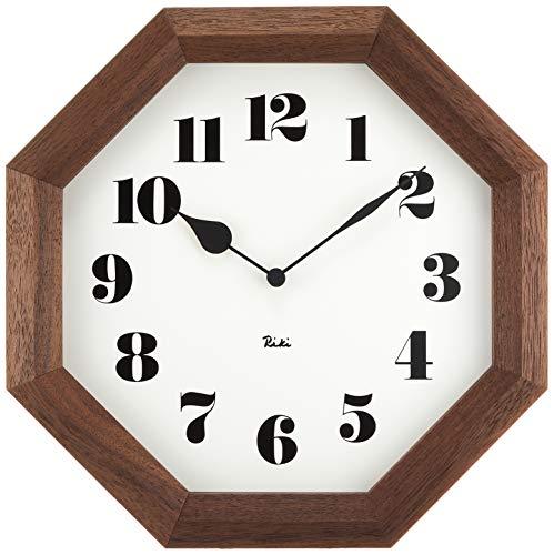 レムノス 掛け時計 木枠 ウォールナット ブラウン 八角の時計 WR11-01 Lemnos サイズ:w24.6×h24.6×d4.8cm