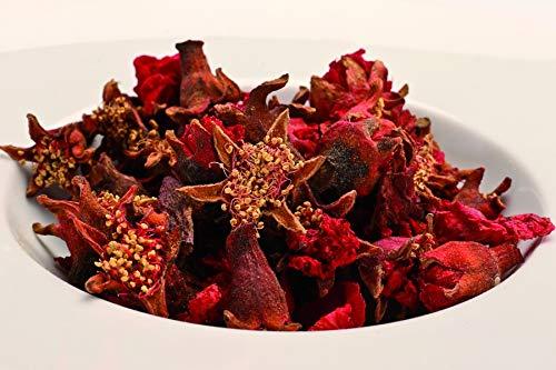 Bio Granatapfelblüten 100g Öko Fairtrade, ganze Granatapfel Blüten Tee, Spitzenqualität Granatapfeltee, sonnengetrocknet, aromatisch, pur oder zum Mischen und Verfeinern von Tees, ohne Zusätze