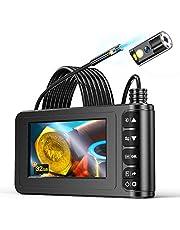 YINAMA Endoscopio de Doble Lente, Borescopio de 1080P HD 4.3 Pulgadas, Cámara de Inspección IP67 a Prueba De Agua, con 6 Luces LED, Cable Semirrígido, Tarjeta TF de 32G y Herramienta