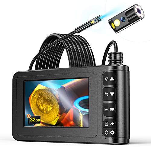 Endoscopio a Doppio Lente, YINAMA 1080P HD Telecamere di Ispezione 4.3 Pollice, Schermo LCD Boroscopio Snake Telecamera Impermeabile, 6 LED, Cavo Semirigido, Scheda TF da 32 GB Strumenti (5M)
