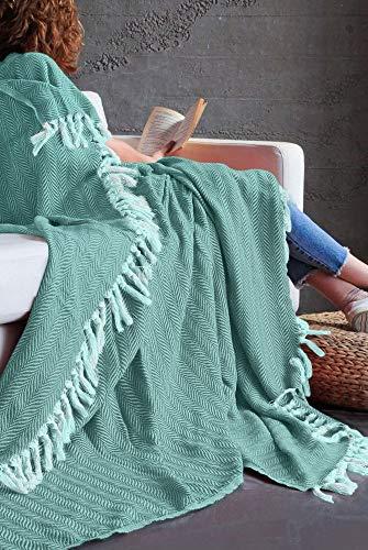 Mixibaby Tagesdecke Wohndecke Wendedecke Kuscheldeck Sofadecke Couchdecke, Farbe Design:Mint Fischgräten Design