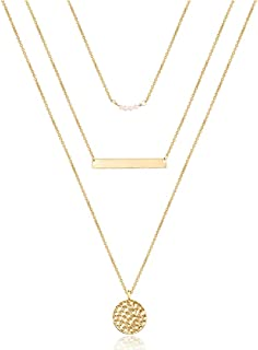 Turandoss Dainty Layered Choker Necklace, Handmade 14K Gold Plated Y Pendant Necklace Multilayer Bar Disc Necklace Adjustable Layering Choker Necklaces for Women
