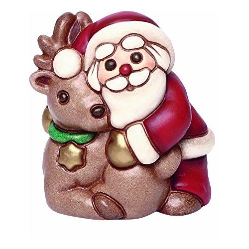 THUN, Babbo Natale con Renna, Decorazioni Natalizie, Ceramica, 7,5 cm h