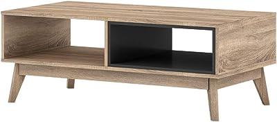 ELSI Coffee Table 2 Open Storage Shelf Living Room Furniture Oak Colour