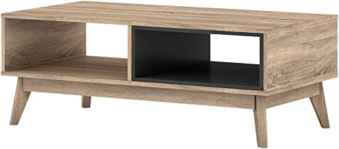 ELSI Coffee Table 2 Open Storage Shelf Living Room Furniture Oak Colour