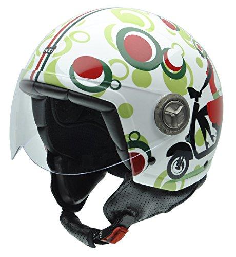 NZI 050004G590 Zeta Happy Scooter Casco de Moto, Color Rojo/Negro/Verde, Talla XS