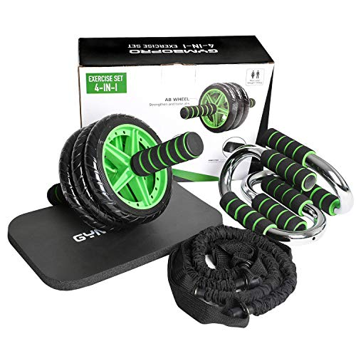 GYMBOPRO 4-in-1 AB Wheel Roller Kit AB Roller Pro with Resistant Band,Knee Pad,Push Up Bar - Perfect Abdominal Core Carver Fitness Workout for Abs
